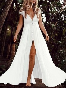 White Lace Chiffon Deep V-neck Plus Size Split Flowy Bohemian Beach Wedding Maxi Dress