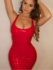 f177a2c15ac Red Deep V-neck Sleeveless PU Leather Backless Bodycon Latex Rubber Mini  Dress
