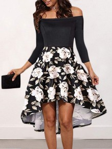 c41da64c6dc4 Black-White Floral Swallowtail Pleated Irregular Backless Boat Neck Three  Quarter Length Sleeve Elegant Midi