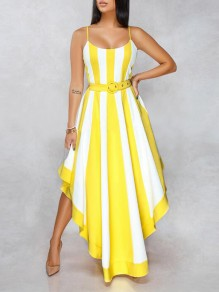889b146de9 Yellow-White Striped Irregular Spaghetti Strap Backless Elegant Banquet  Party Maxi Dress