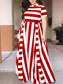 Red Striped Pleated Plus Size Prom Evening Party Maxi Dress