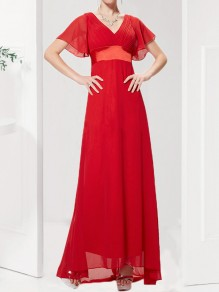 Red Draped Chiffon V-Back Deep V-neck Short Sleeve Elegant Maxi Dress