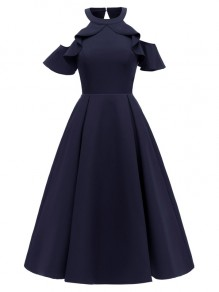 Navy Blue Ruffle Cut Out Halter Neck Short Sleeve Party Midi Dress