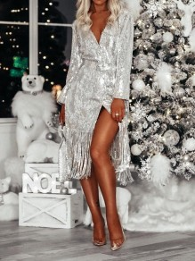 Silver Sequin Sashes Tassel Deep V-neck Side Slits Glitter Sparkly Cardigan Mini Dress