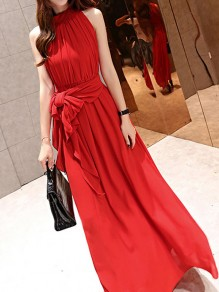 Red Chiffon Draped Pleated Sashes Bow Irregular Backless Band Collar Sleeveless Bohemian Maxi Dress