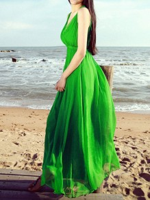 Green Chiffon Draped Pleated Tie Back Cross Back Irregular Backless V-neck Sleeveless Bohemian Maxi Dress