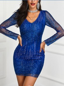 Blue Patchwork Sequin Bodycon V-neck Long Sleeve Sparkly Glitter Birthday Party Mini Dress