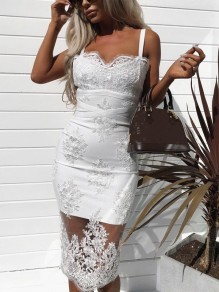 White Patchwork Grenadine Lace Embroidery V-neck Shoulder-Strap Formal Bridesmaid Midi Dress
