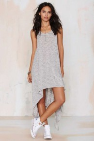 Grey Plain Irregular Shoulder-Strap Casual High-low Dress