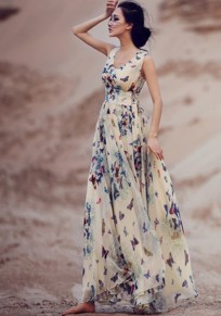 Beige Butterfly Print Sleeveless Bohemian Garden Party Chiffon Flowing Summer Maxi Dress