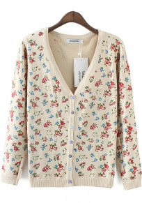 Beige Floral Print Long Sleeve Knit Cardigan