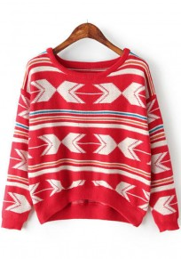 Bright Red Geometric Print Pullover
