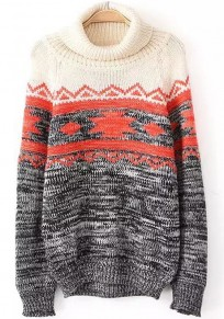 Multicolor Geometric Print Loose Pullover