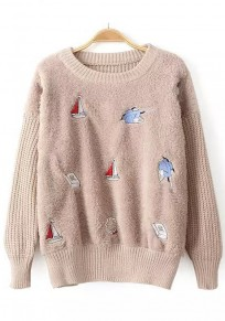 Beige Patchwork Sailboats Embroidery Pullover Sweater