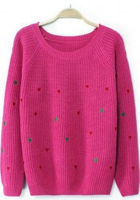 Red Heart Print Long Sleeve Sweater