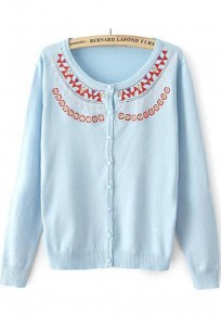 Blue Geometric Embroidery Long Sleeve Cardigan