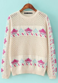 Beige Print Hollow-out Pullover