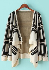 White Geometric Irregular Cardigan