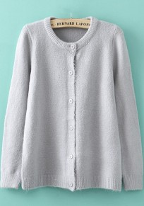 Silver Plain Buttons Long Sleeve Cardigan