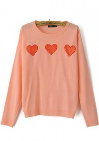 Pink Love Lace Long Sleeve Pullover