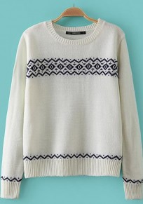 Beige White Geometric Print Long Sleeve Sweater