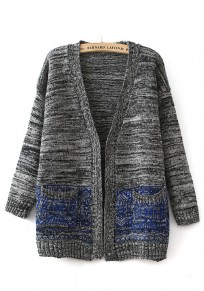 Grey-Blue Hem Geometric Print Pockets Cardigan
