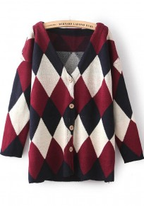 Multicolor Geometric Print Long Sleeve Knit Cardigan