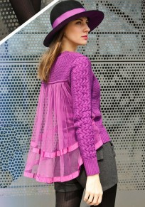 Purple Patchwork Grenadine Sweet Pullover Sweater