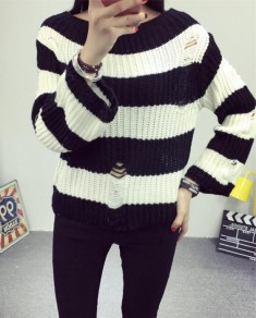 Black-White Striped Hollow-out Pullover Sweater Long Sleeve Round Neck