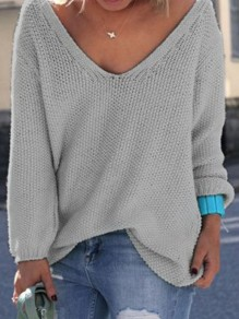 Grey Plain V-neck Long Sleeve Loose Fashion Pullover Sweater
