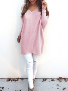 Pink Plain V-neck Long Sleeve Fashion Knit Pullover Sweater