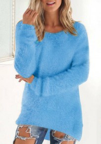 Light Blue Plain Fur Round Neck Fashion Pullover Sweater