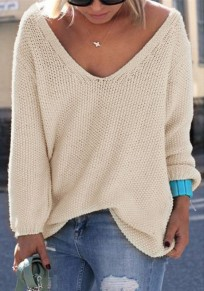 Beige Plain V-neck Long Sleeve Casual Loose Pullover Sweater