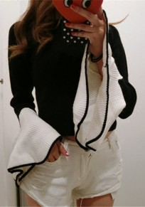 Black Patchwork Ruffle Long Sleeve Fashion Pullover Sweater