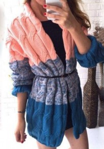 Multicolor Color Block Print Collarless Casual Cardigan Sweater