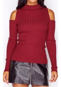 Red Plain Cut Out Round Neck Fashion Pullover Sweater