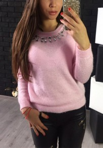 Pink Plain Round Neck Long Sleeve Pullover Sweater