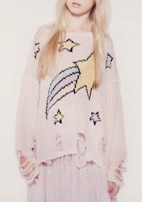 Pink Galaxy Print Hollow-out Round Neck Pullover Sweater