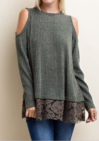 Green Patchwork Lace Round Neck Fashion Cotton Pullover Sweater