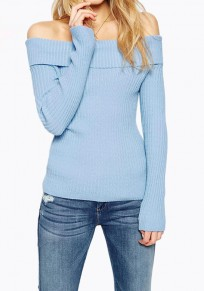 Baby Blue Boat Neck Long Sleeve Off Shoulder Plus Size Pullover Slim Sweater
