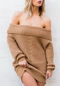 Khaki Patchwork Boat Neck Off Shoulder Long Sleeve Fashion Pullover Sweater