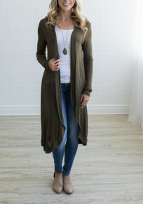 Army Green Plain Polyester Casual Cardigan Sweater
