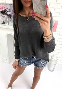 Black Zipper Round Neck Long Sleeve Fashion Pullover Sweater
