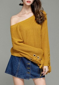 Yellow Drawstring Round Neck Long Sleeve Pullover Sweater