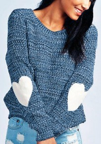 Blue Love Oversize Round Neck Long Sleeve Pullover Sweater