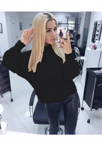 Black Plain High Neck Casual Pullover Sweater