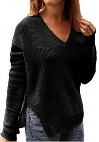 Black Plain V-neck Long Sleeve Casual Pullover Sweater