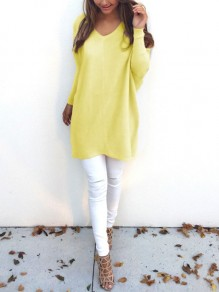 Yellow Irregular V-neck Long Sleeve Casual Pullover Sweater