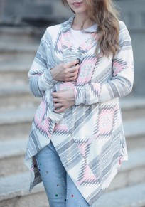 Pink Geometric Irregular Turndown Collar Casual Cardigan Sweater