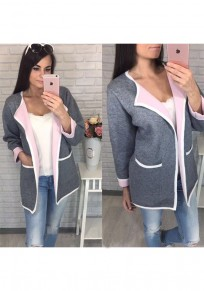 Grey Plain Pockets Casual Cardigan Sweater